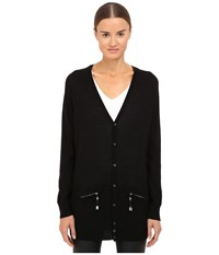 Dsquared Long Sleeve Zip Pocket Cardigan Black Women's Sweater