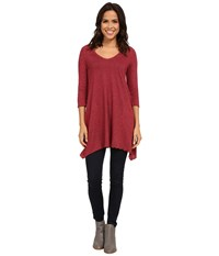Allen Allen Slub Angled 3 4 Tunic Port Women's T Shirt Burgundy