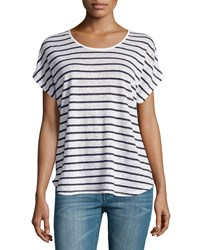 Vince Linen Striped Scoop Neck Tee Off White Coastal