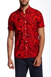 Kennington Floral Print Woven Short Sleeve Shirt Red