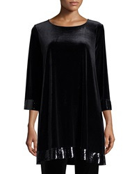 Joan Vass 3 4 Sleeve Velour Tunic With Sequined Trim Women's