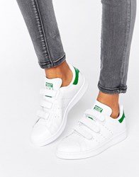 Adidas Originals White And Green Velcro Stan Smith Trainers White