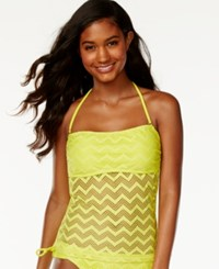 Hula Honey Crochet Cutout Bandeau Tankini Top Women's Swimsuit Chilled Lemonade