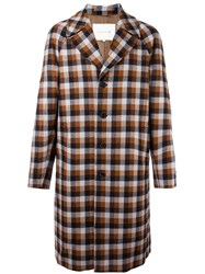 Mackintosh Plaid Single Breasted Coat Brown
