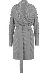 Temperley London Nell Belted Wool Blend Cardigan Gray