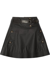Belstaff Cale Belted Coated Cotton Canvas Mini Skirt Black