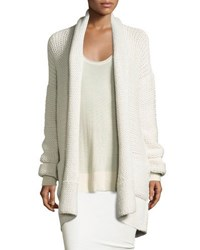 Knit Cashmere Shawl Collar Cardigan White Smoke