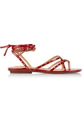 Schutz Studded Patent Leather Sandals Red