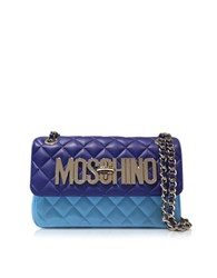 Moschino Blue Nappa Leather Color Block Shoulder Bag