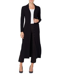 Catherine Malandrino Julian Duster Knitted Ribbed Cardigan Black