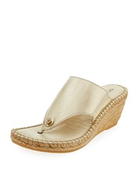 Andre Assous Annette 2 Leather Wedge Sandal Platino
