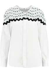 Issa Hilda Appliqued Cotton Shirt White