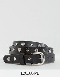 Reclaimed Vintage Star And Rivet Leather Belt Black