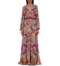 Etro Paisley Print Silk Maxi Dress Coral