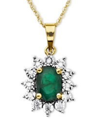 Macy's 10K Gold Necklace Emerald 7 8 Ct. T.W. And Diamond Accent Pendant