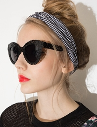 Pixie Market Mia Black Floral Cat Eye Sunglasses