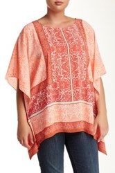 Vince Camuto Delicate Maze Blouse Plus Size Red