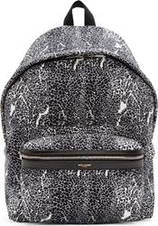 Saint Laurent Black And White Canvas Hunting Backpack