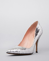 Kate Spade New York Pointed Toe Pumps Licorice High Heel Silver Metallic Crocco Emboss Leather