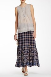 Johnny Was Embroidered Plaid Skirt Multi