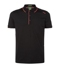 Hugo Boss Green Paule 1 Neon Trim Polo Shirt Male Black