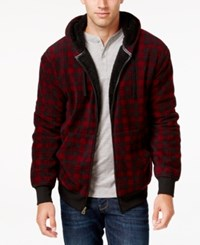 Weatherproof Vintage Men's Big And Tall Plaid Sherpa Lined Hoodie Only At Macy's Red