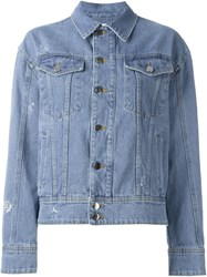 Filles A Papa Chain Embellished 'Jackson' Denim Jacket Blue