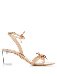 Paul Andrew Floella Embellished Patent Leather Sandals Nude Multi