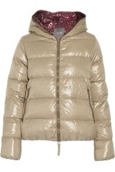 Duvetica Thia Quilted Shell Down Hooded Coat Mushroom