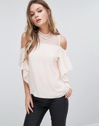 Tfnc Cold Shoulder Frill Top With Lace Trim Nude Pink