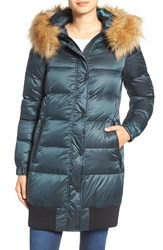 7 For All Mankindr Women's Mankind Quilted Coat With Removable Faux Fur Trim Hood Deep Forest