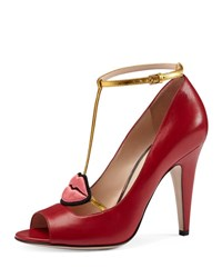 Gucci Molina Lips T Strap Pump Red