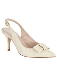 Phase Eight Sammy Leather Bow Sling Back Shoes Cream