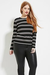 Forever 21 Plus Size Striped Top Black Ivory