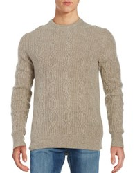 Black Brown Cable Knit Cashmere Sweater Light Tan