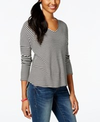 One Clothing Juniors' Striped Thermal Knit High Low Tunic Top Black White