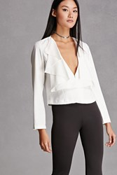 Forever 21 Twelve Ruffled Blazer White