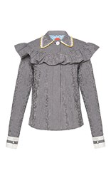 Marianna Senchina Ruffle Shirt With Embroidered Collar Plaid