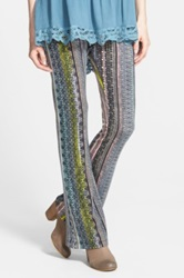 Lily White Print Bell Bottom Pants Juniors Blue