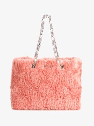 Miu Miu Faux Shearling Eco Shopper Pink Silver Pearl Black Denim