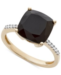 Macy's Onyx 1 1 6 Ct. T.W. And Diamond Accent Ring In 14K Gold Yellow Gold