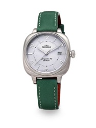 Shinola Gomelsky Stainless Steel And Leather Strap Watch Teal Silver Green