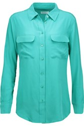 Equipment Slim Signature Washed Silk Shirt Turquoise