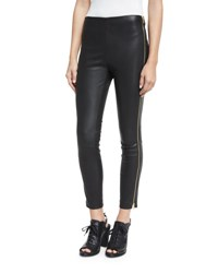 Rag And Bone Chatel Leather Zip Leggings Black