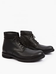 Rick Owens Black Leather Lace Up Boots