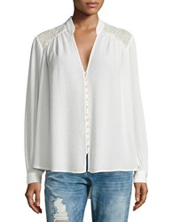 Free People Canyon Rose Embroidered Mesh Peasant Blouse Ivory