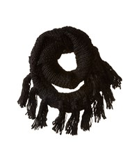 Hat Attack Fringe Double Loop Black Scarves