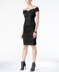 Guess Off The Shoulder Lace Sheath Dress Black