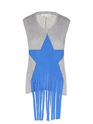 Stella Mccartney Fringed Star Embellished Jersey Tank Top Grey Multi