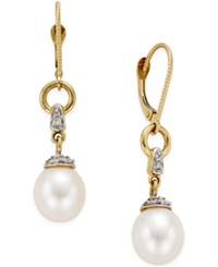 Macy's Freshwater Pearl 9Mm And Diamond Accent Drop Earring In 14K Gold